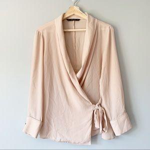 Zara Wrap Tie Blouse Baby Pink Long Sleeve Size L